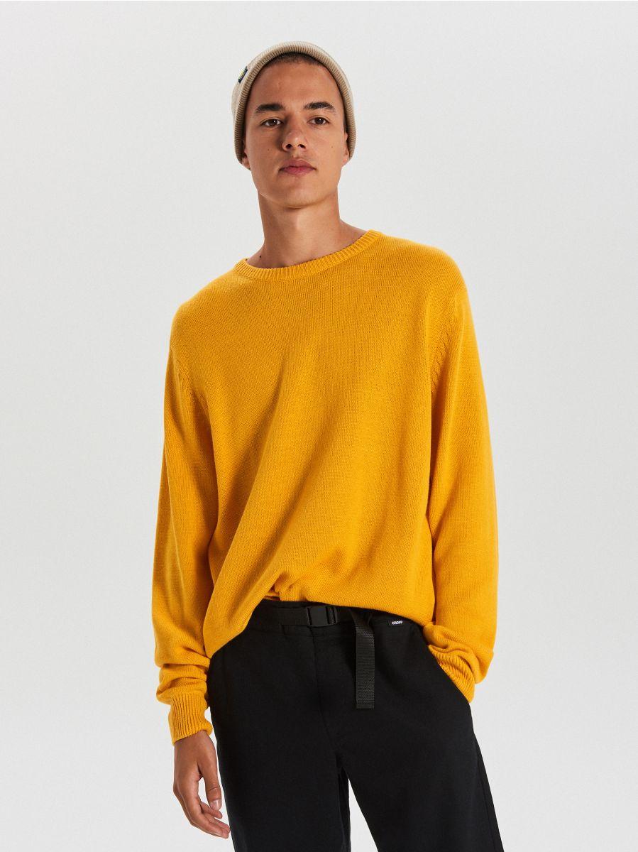 Vienkrāsains džemperis - DZELTENS - WG371-18X - Cropp - 1