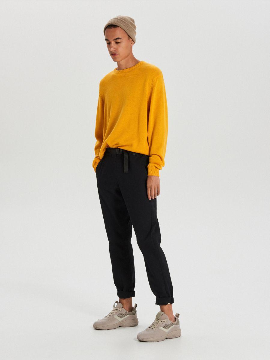 Vienkrāsains džemperis - DZELTENS - WG371-18X - Cropp - 2