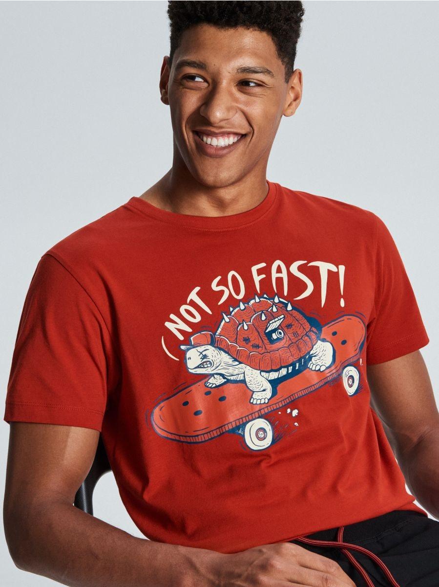 T-krekls ar bruņurupuča apdruku - SARKANS - WM731-33X - Cropp - 1