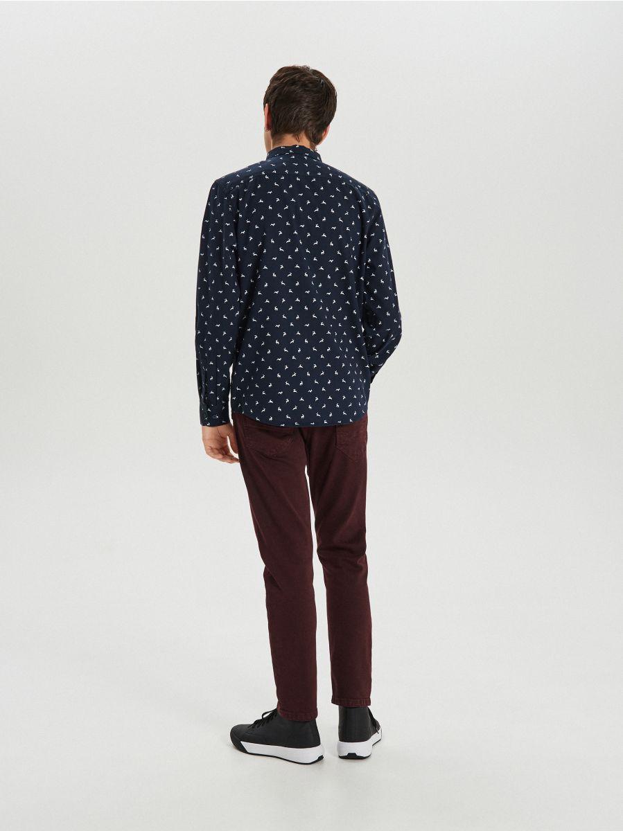 Krekls ar smalku Ziemassvētku apdruku - TUMŠI ZILS - XK011-59X - Cropp - 5