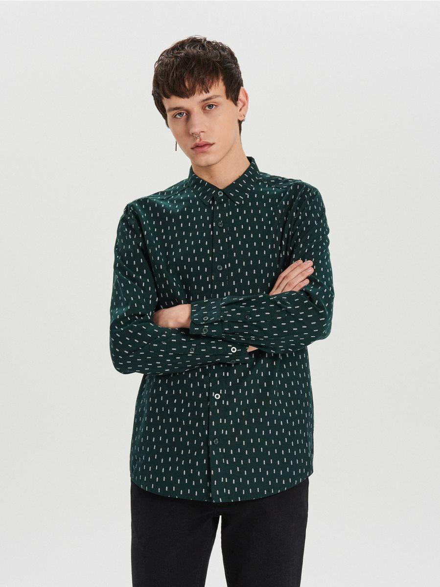 Krekls ar smalku Ziemassvētku apdruku - ZAĻŠ - XK011-77X - Cropp - 3