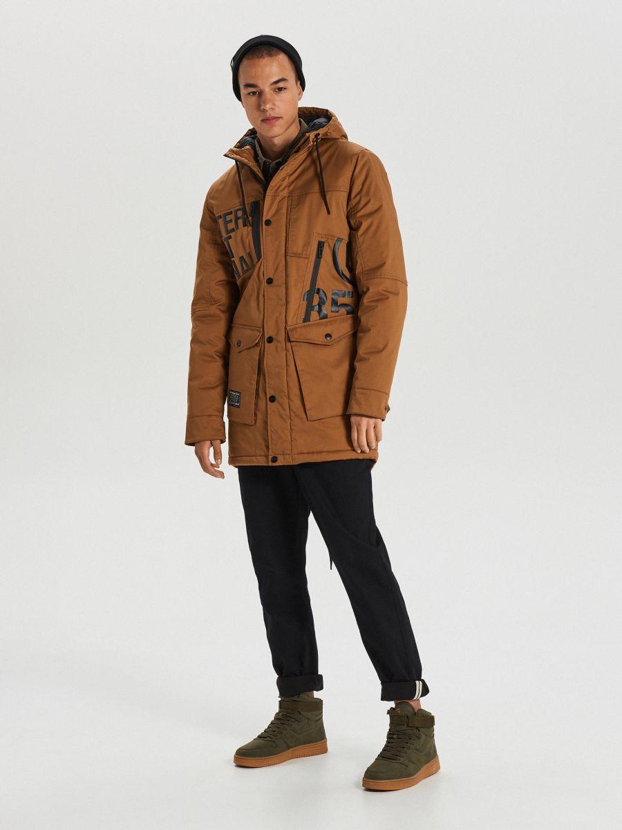Silts ziemas mētelis ar kapuci - BRŪNS - WC149-82X - Cropp - 1
