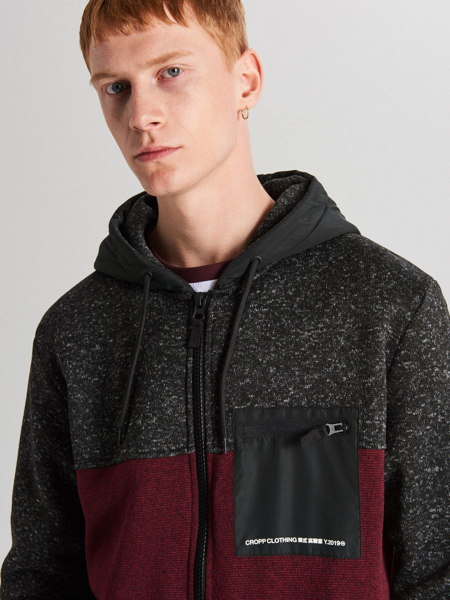 Džemperis ar kapuci soft shell - BORDO KRĀSA - WE553-83M - Cropp - 4