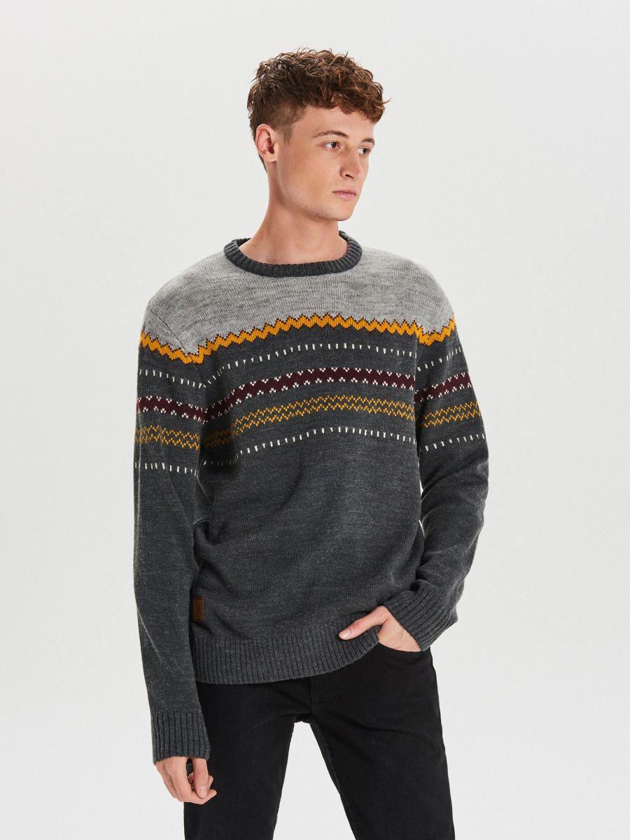 Džemperis ar vilnas piejaukumu - PELĒKS - WG360-90M - Cropp - 1