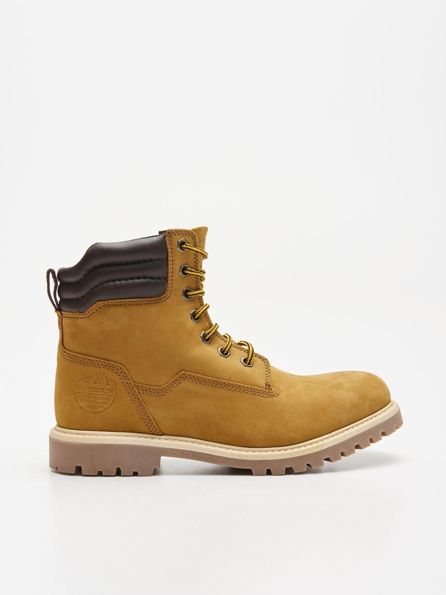 Ādas pārgājienu kurpes - DZELTENS - WN951-18X - Cropp - 1