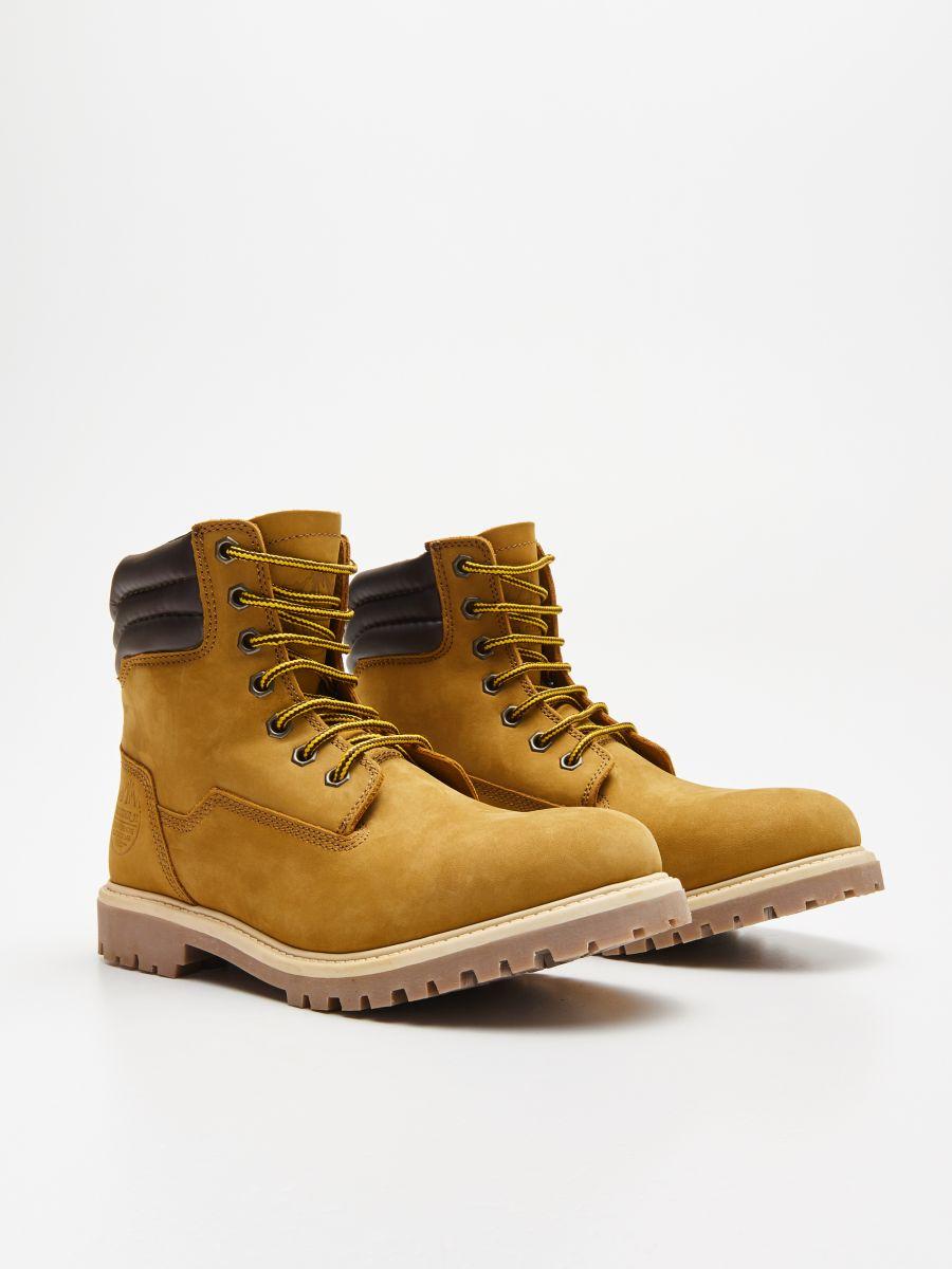 Ādas pārgājienu kurpes - DZELTENS - WN951-18X - Cropp - 3