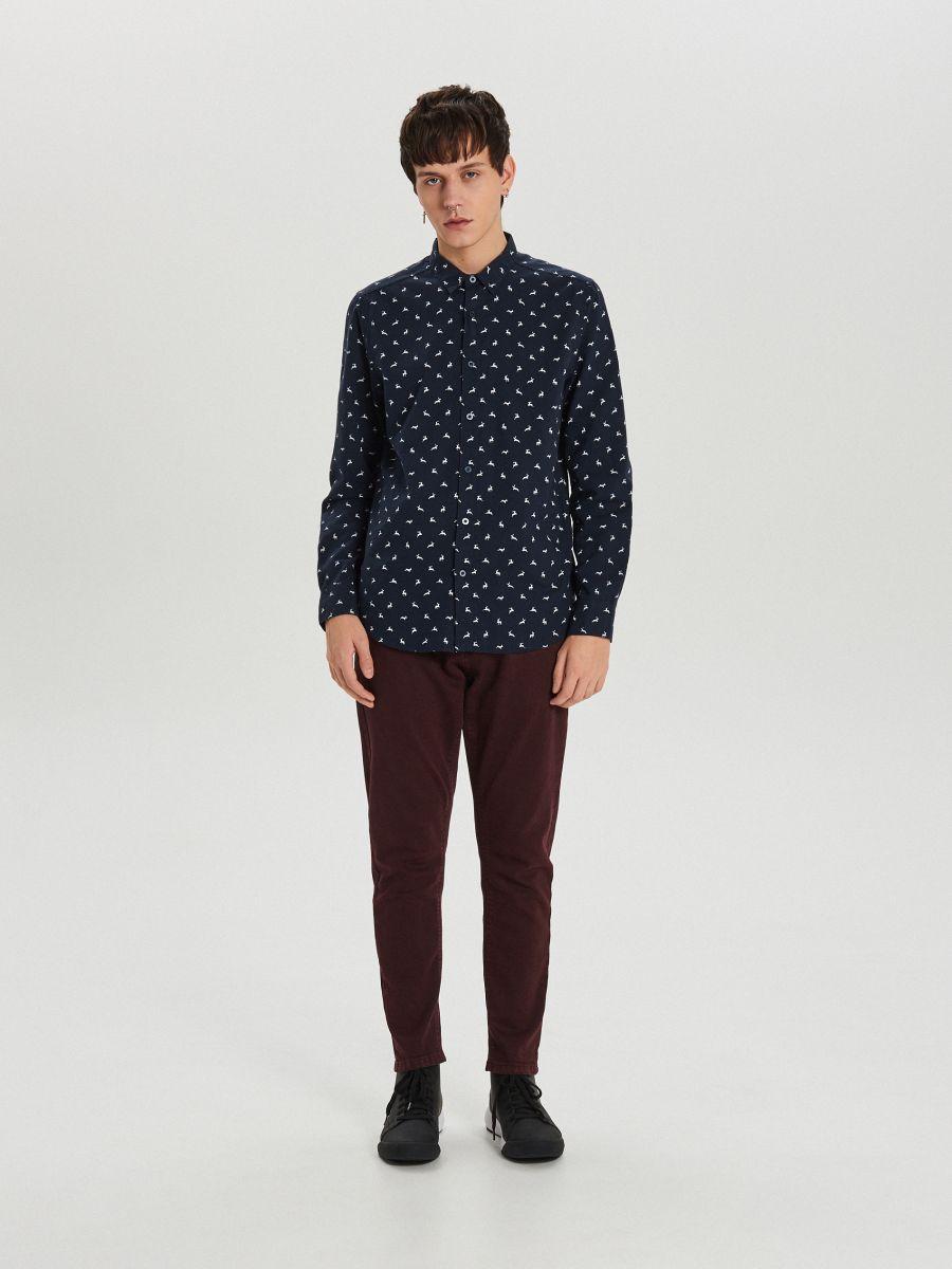 Krekls ar smalku Ziemassvētku apdruku - TUMŠI ZILS - XK011-59X - Cropp - 2