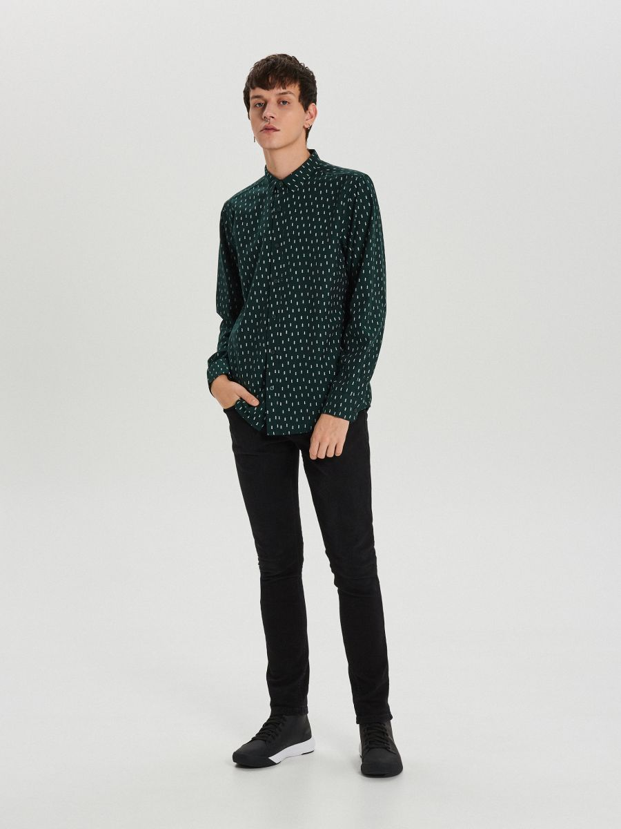 Krekls ar smalku Ziemassvētku apdruku - ZAĻŠ - XK011-77X - Cropp - 2