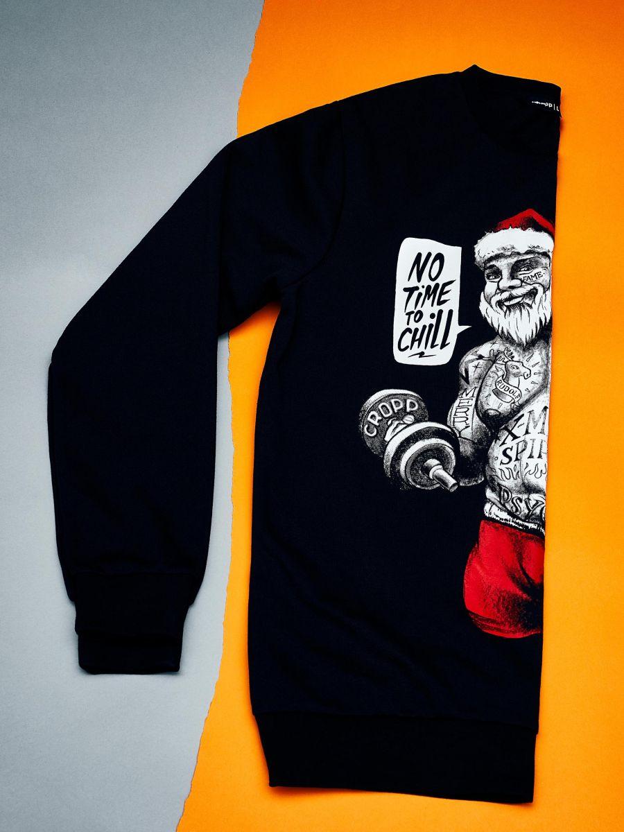 Sporta džemperis ar svētku motīvu - MELNS - XN984-99X - Cropp - 1