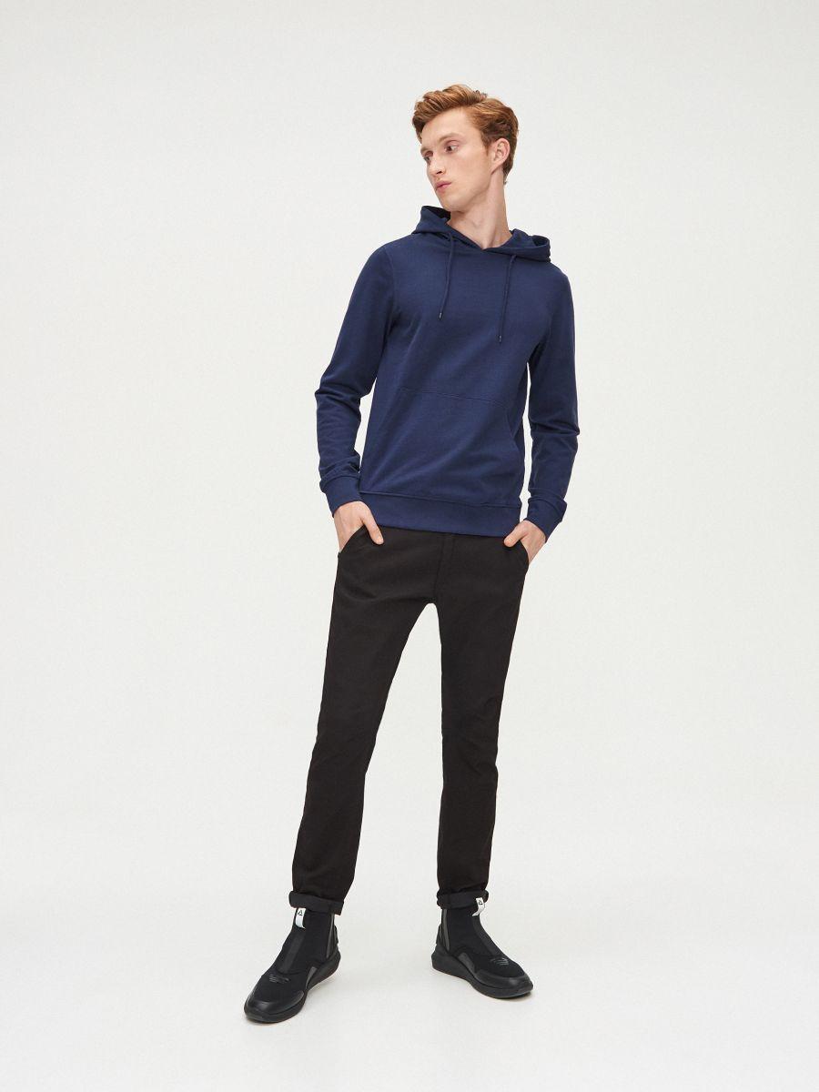 Vienkāršs džemperis ar kapuci - ZILS - XS693-57X - Cropp - 2