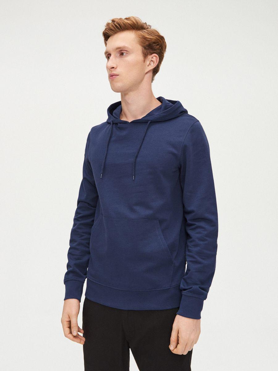 Vienkāršs džemperis ar kapuci - ZILS - XS693-57X - Cropp - 3