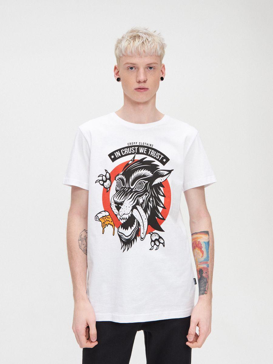 T-krekls ar apdruku - BALTS - XZ415-00X - Cropp - 1