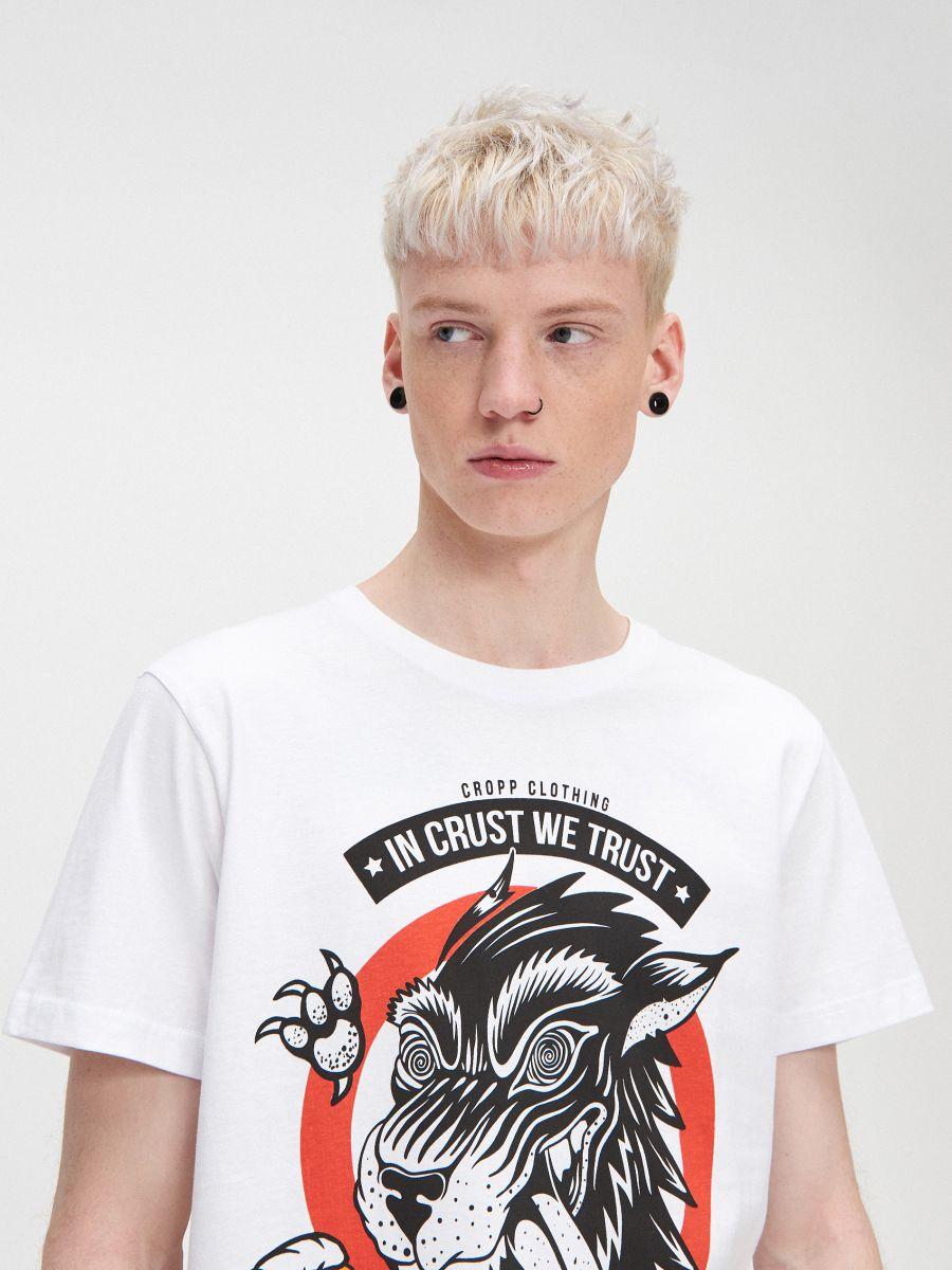 T-krekls ar apdruku - BALTS - XZ415-00X - Cropp - 2
