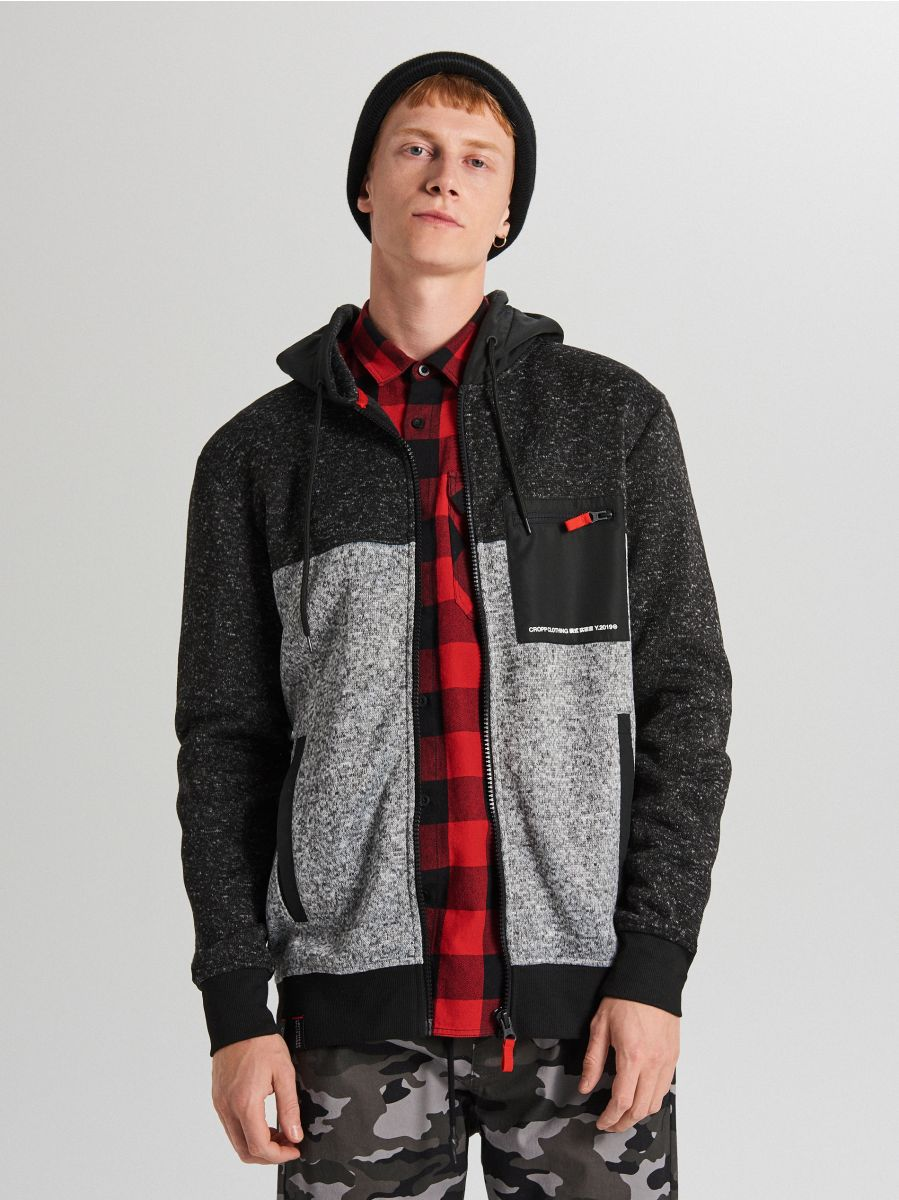 Minkštas džemperis su gobtuvu - ŠVIESIAI PILKA - WE553-09M - Cropp - 1
