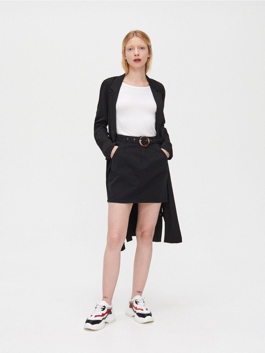 Mini sijonas su diržu - JUODA - YI657-99X - Cropp - 1