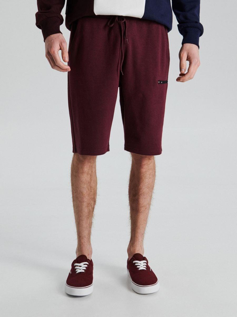Sportiniai šortai su užsegamomis kišenėmis - TAMSIAI RAUDONA - UW707-83M - Cropp - 2