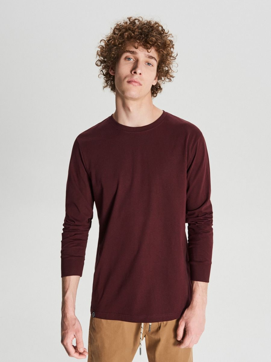 Marškinėliai ilgomis rankovėmis - TAMSIAI RAUDONA - WC053-83M - Cropp - 1