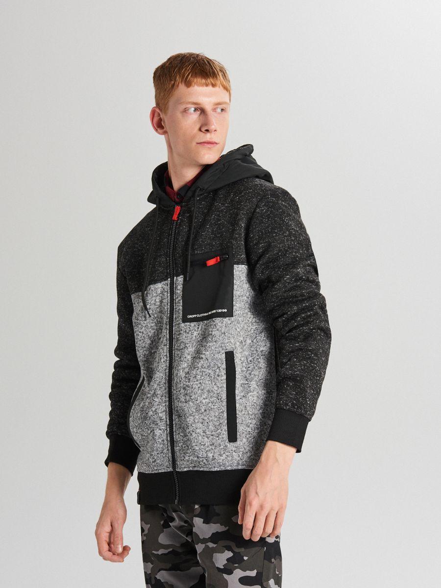 Minkštas džemperis su gobtuvu - ŠVIESIAI PILKA - WE553-09M - Cropp - 3
