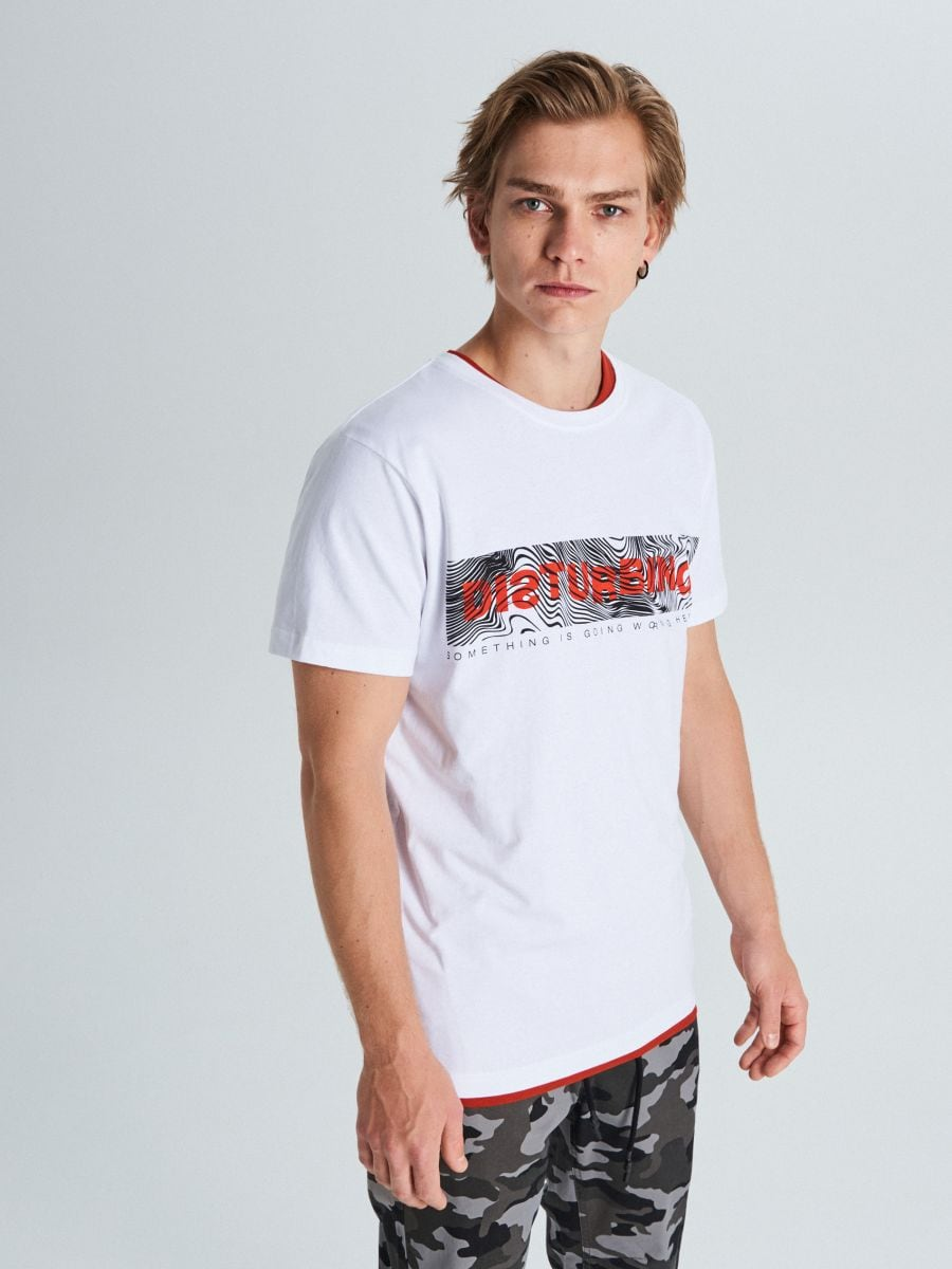 Marškinėliai su užrašu - BALTA - WM727-00X - Cropp - 1