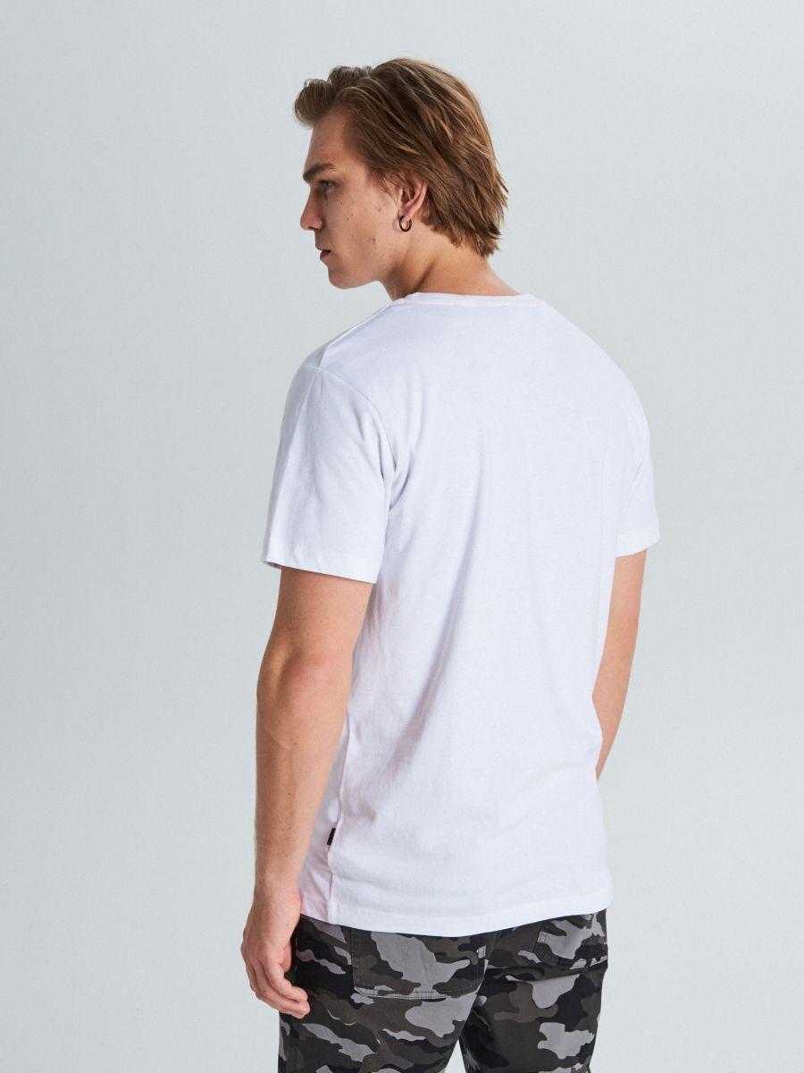 Marškinėliai su užrašu - BALTA - WM727-00X - Cropp - 4