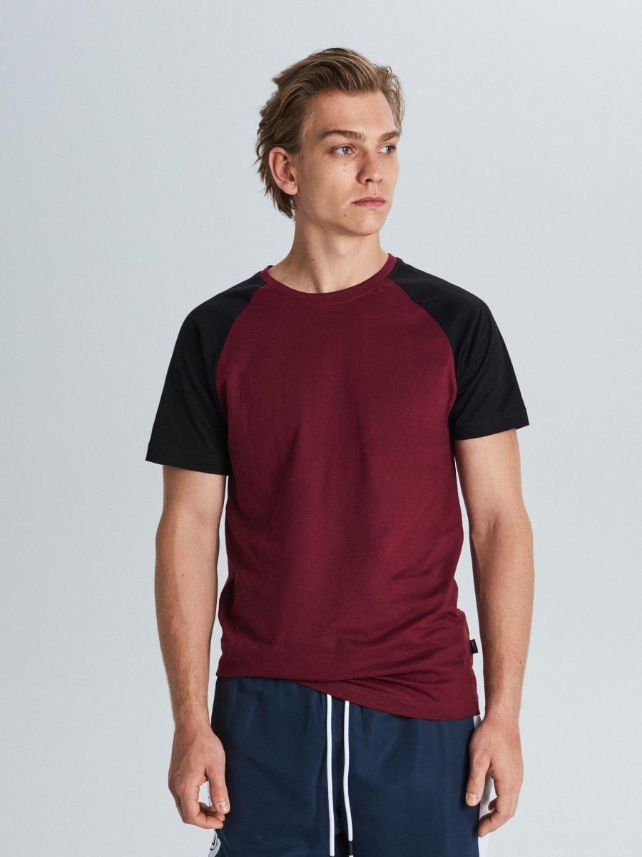 Marškinėliai reglano rankovėmis - TAMSIAI RAUDONA - WS394-83X - Cropp - 1