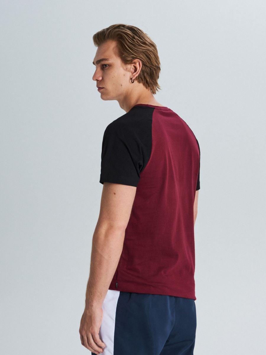 Marškinėliai reglano rankovėmis - TAMSIAI RAUDONA - WS394-83X - Cropp - 4