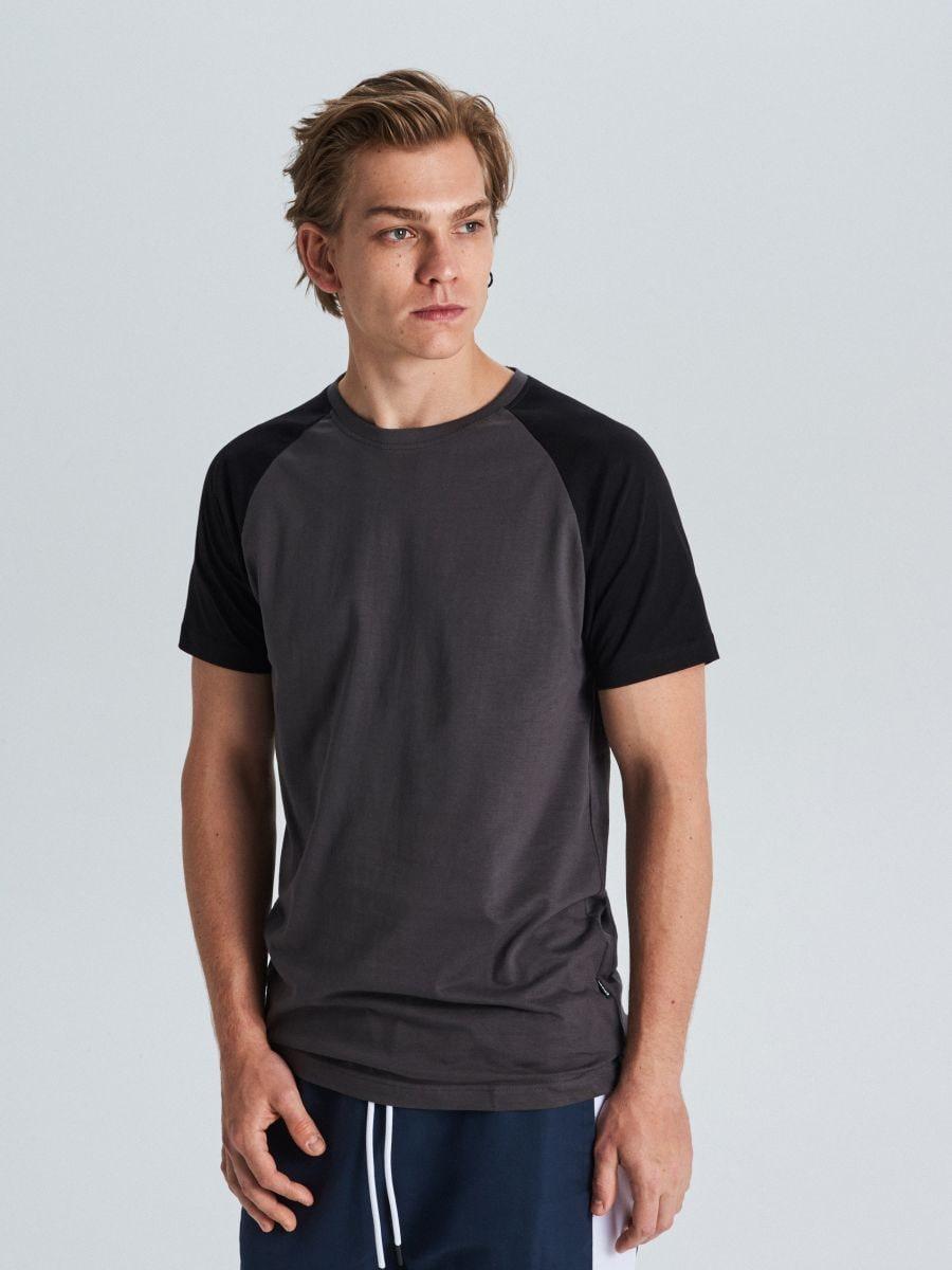 Marškinėliai reglano rankovėmis - PILKA - WS394-90X - Cropp - 1
