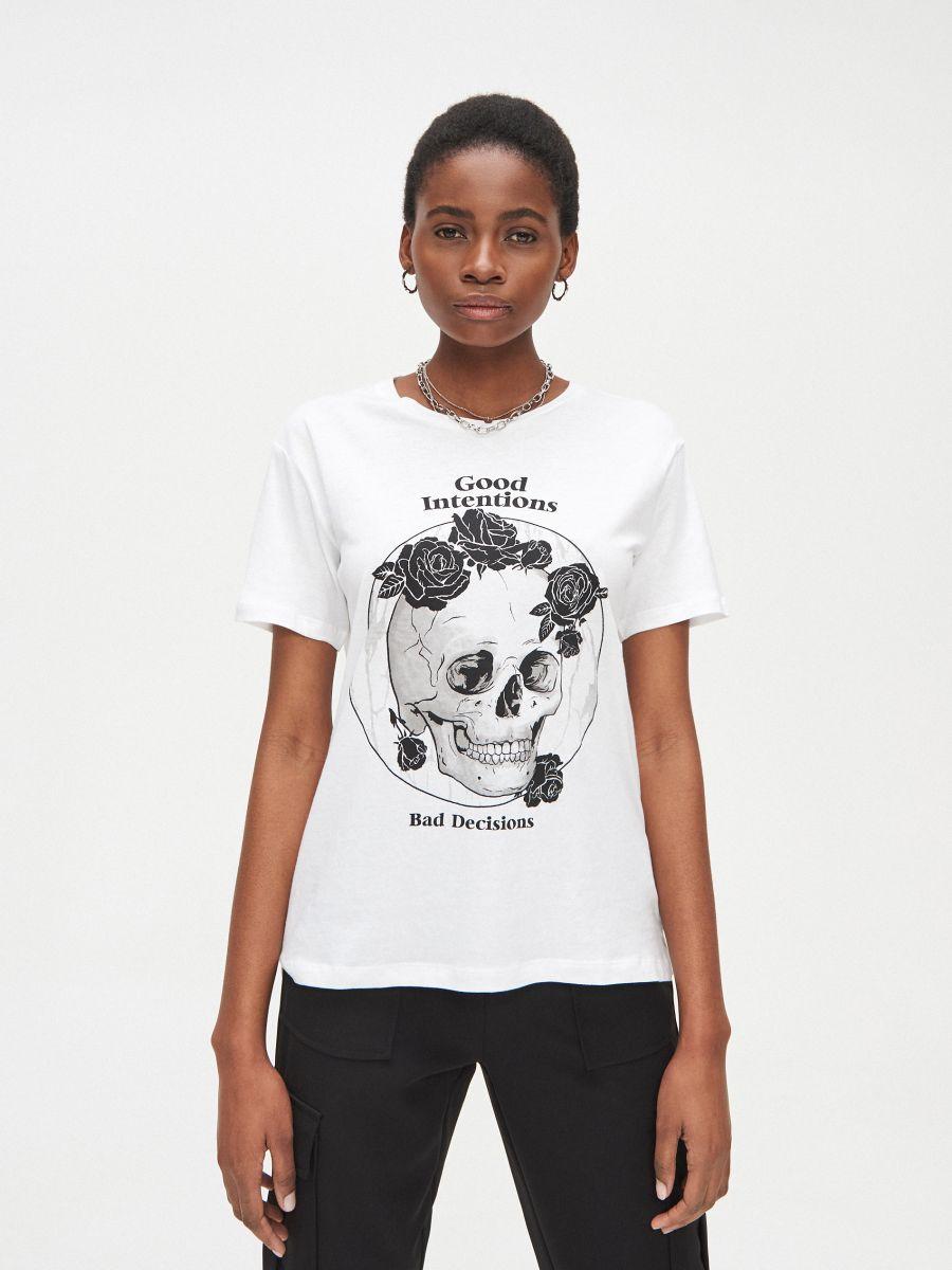 Oversized marškinėliai su atspaudu - BALTA - XV990-00X - Cropp - 3