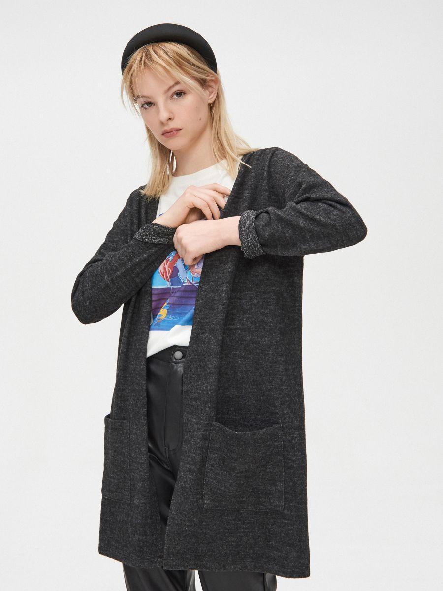 Kardiganas su kišenėmis - PILKA - XW098-90M - Cropp - 1