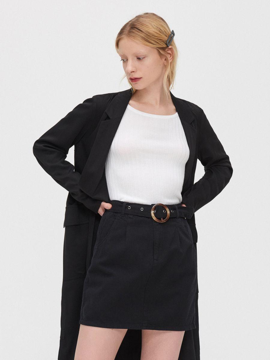 Mini sijonas su diržu - JUODA - YI657-99X - Cropp - 2