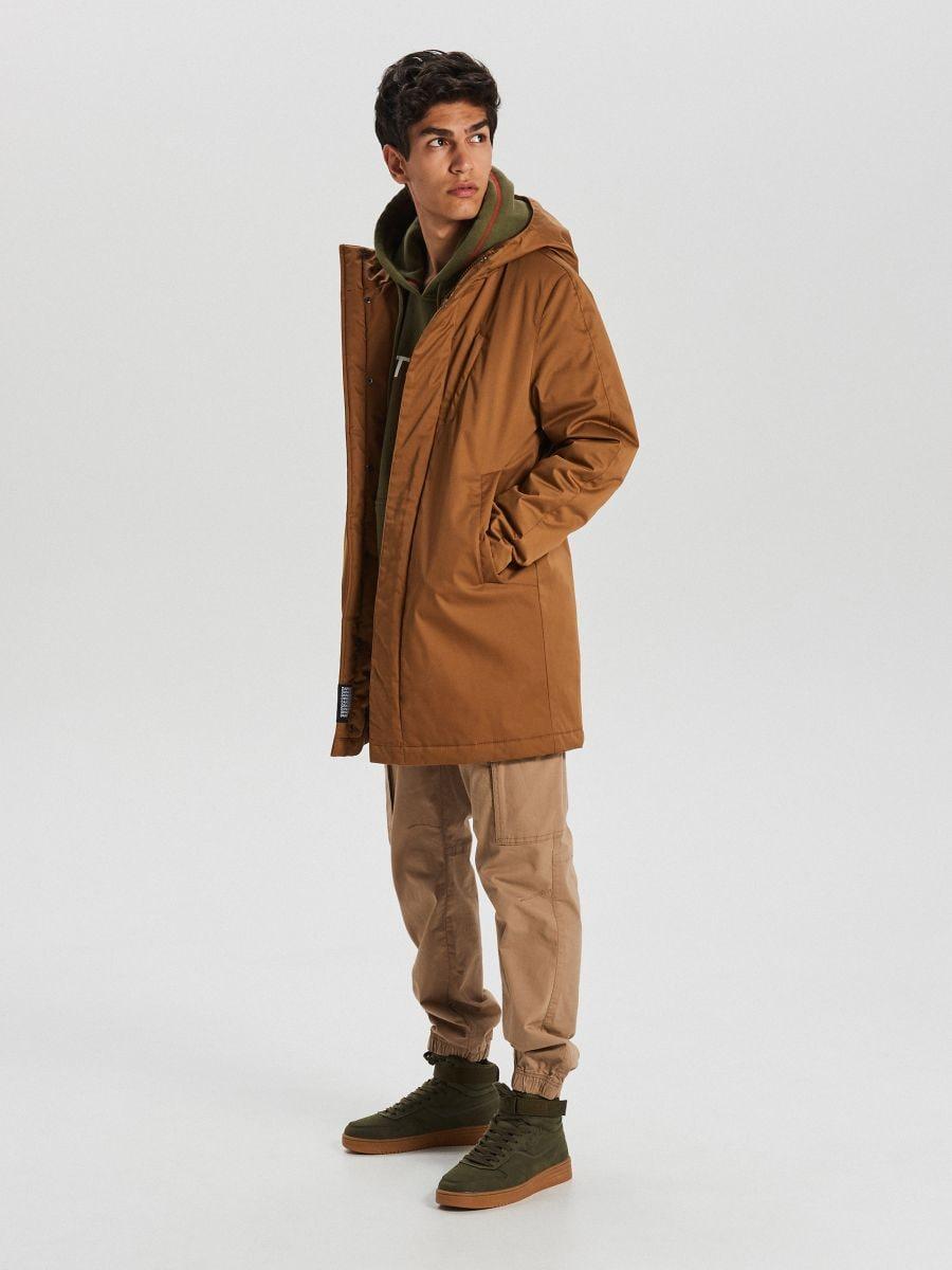 Sportski kaput s kapuljačom - BEŽ - WA095-80X - Cropp - 2