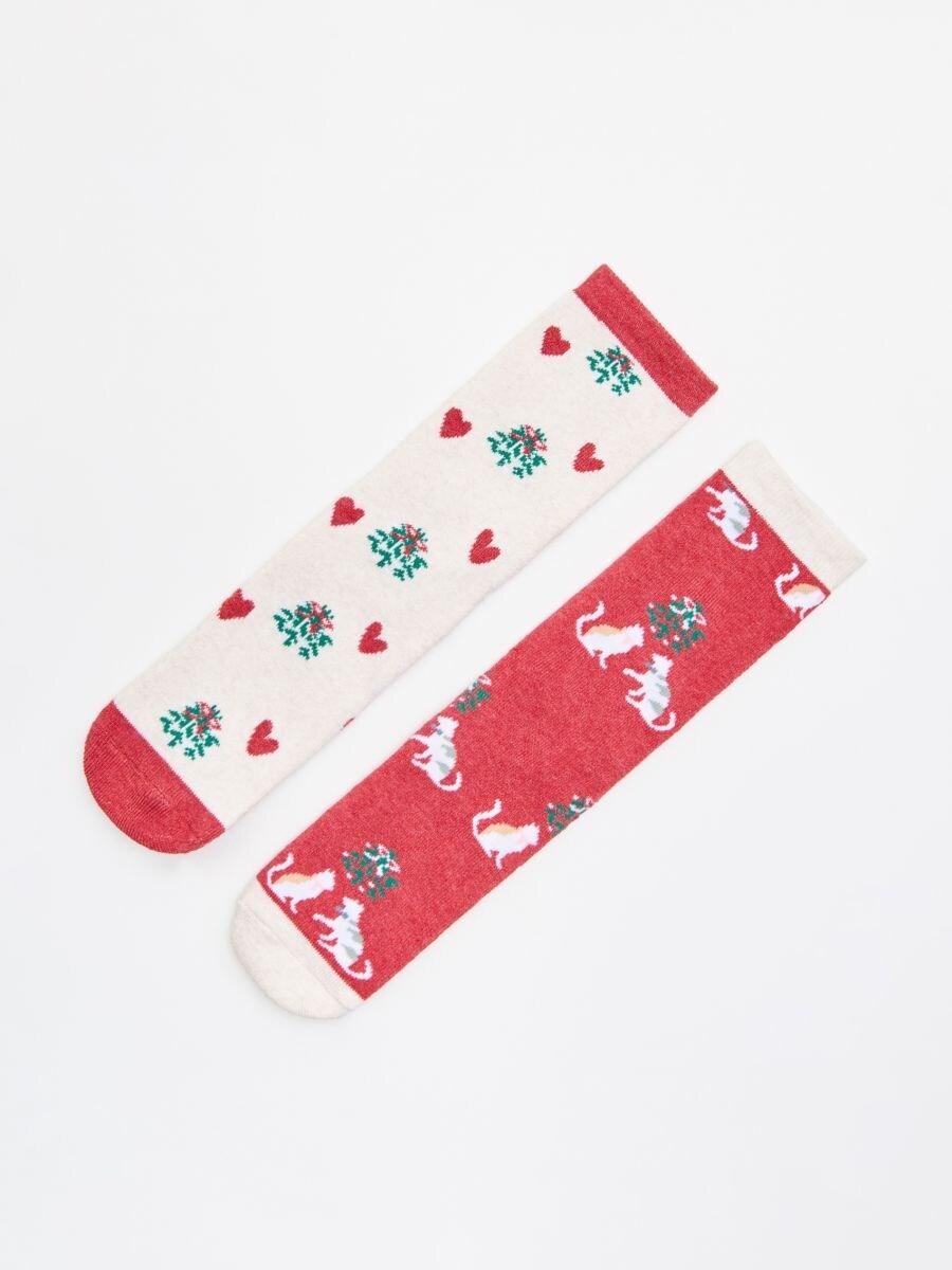 Komplet od 2para čarapa - CRVENA - WX949-33X - Cropp - 1