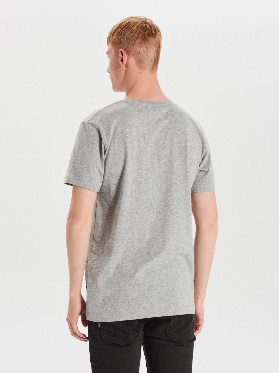 Božićna majica kratkih rukava s mopsom - SVIJETLO SIVA - XH473-09M - Cropp - 3