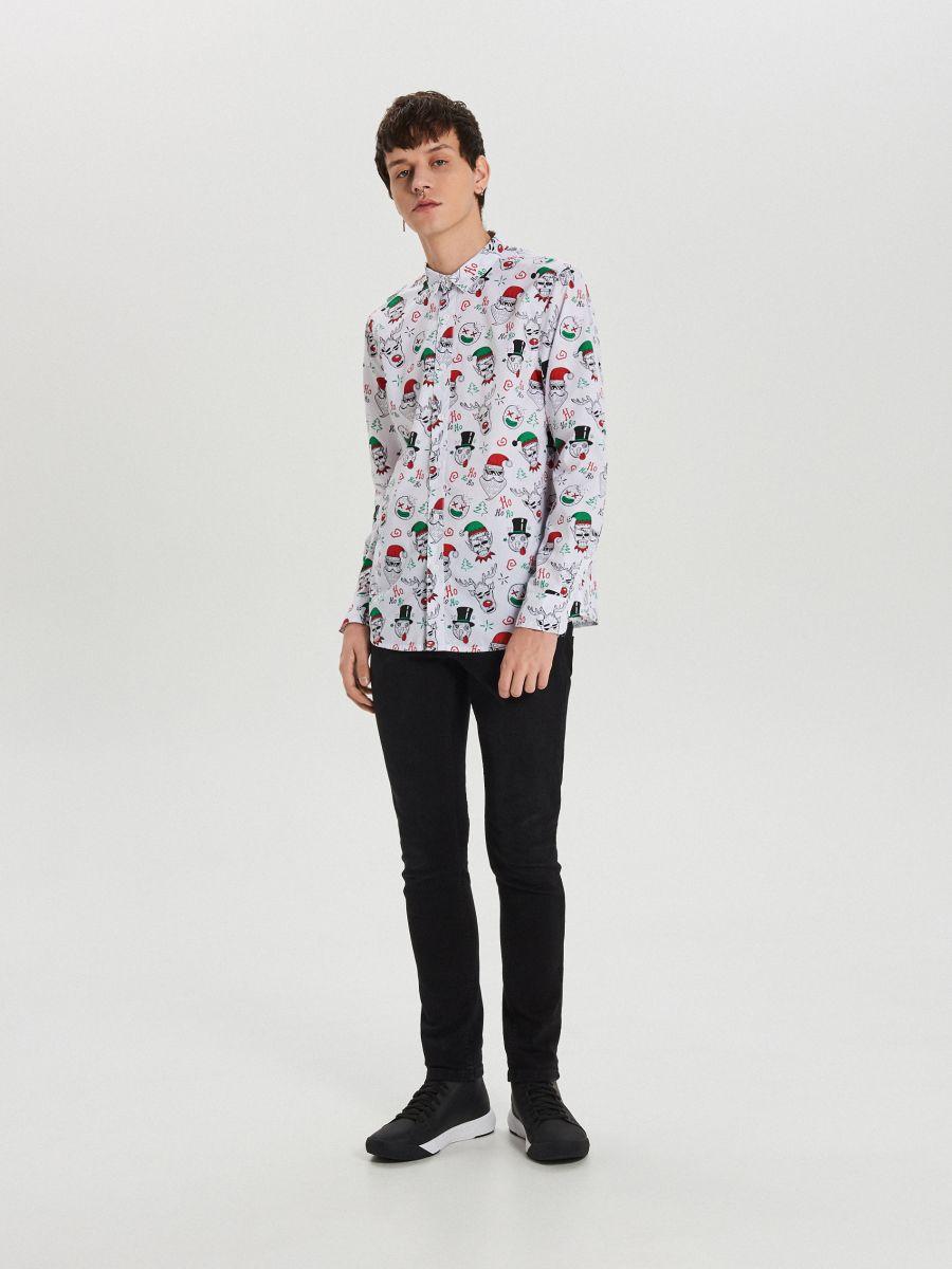 Božićna košulja s ponavljajućim uzorkom - BIJELA - XK012-00X - Cropp - 2