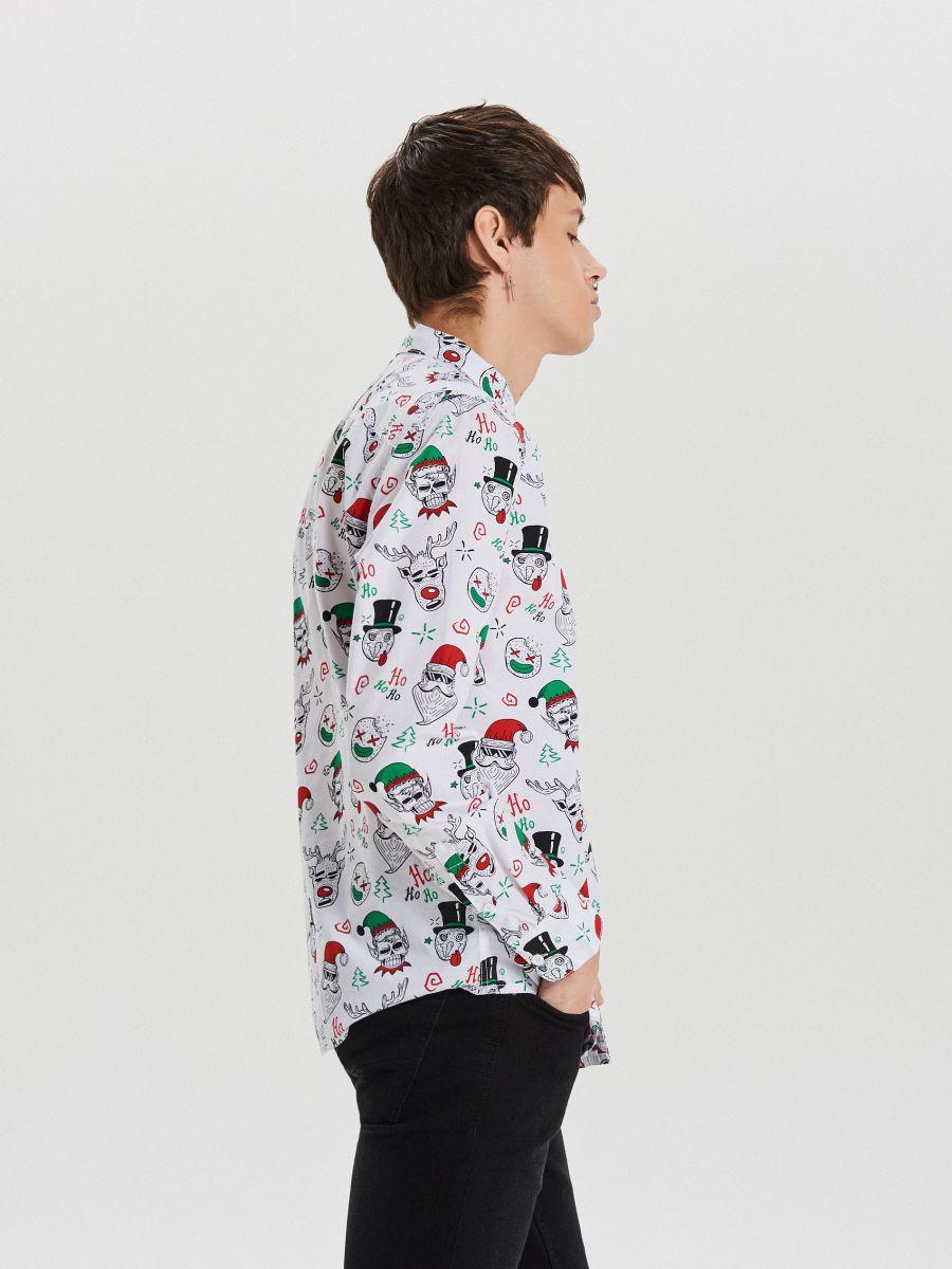 Božićna košulja s ponavljajućim uzorkom - BIJELA - XK012-00X - Cropp - 4