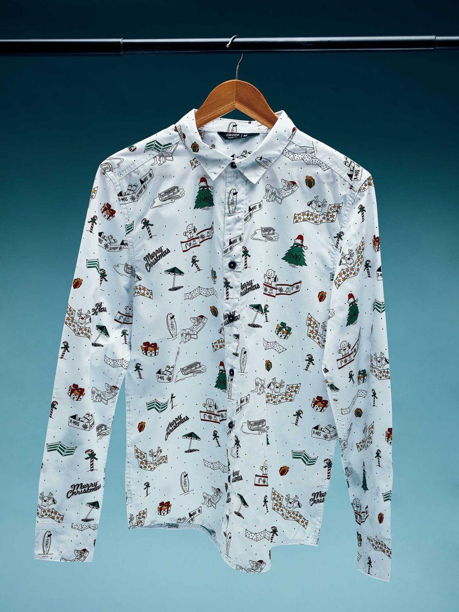 Božićna košulja s ponavljajućim uzorkom - BIJELA - XK012-00X - Cropp - 1