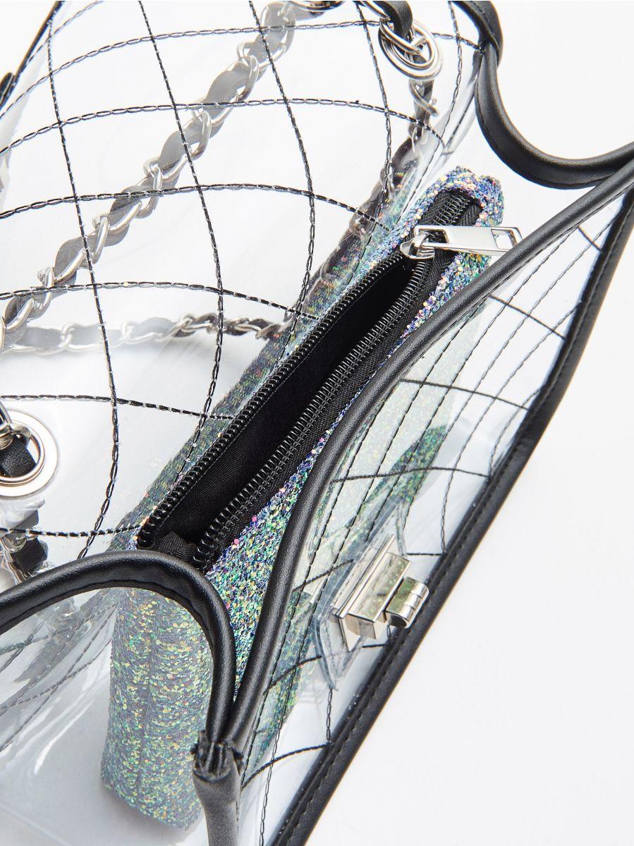 Прозора сумка з косметичкою - БАГАТОБАРВНИЙ - WX238-MLC - Cropp - 4