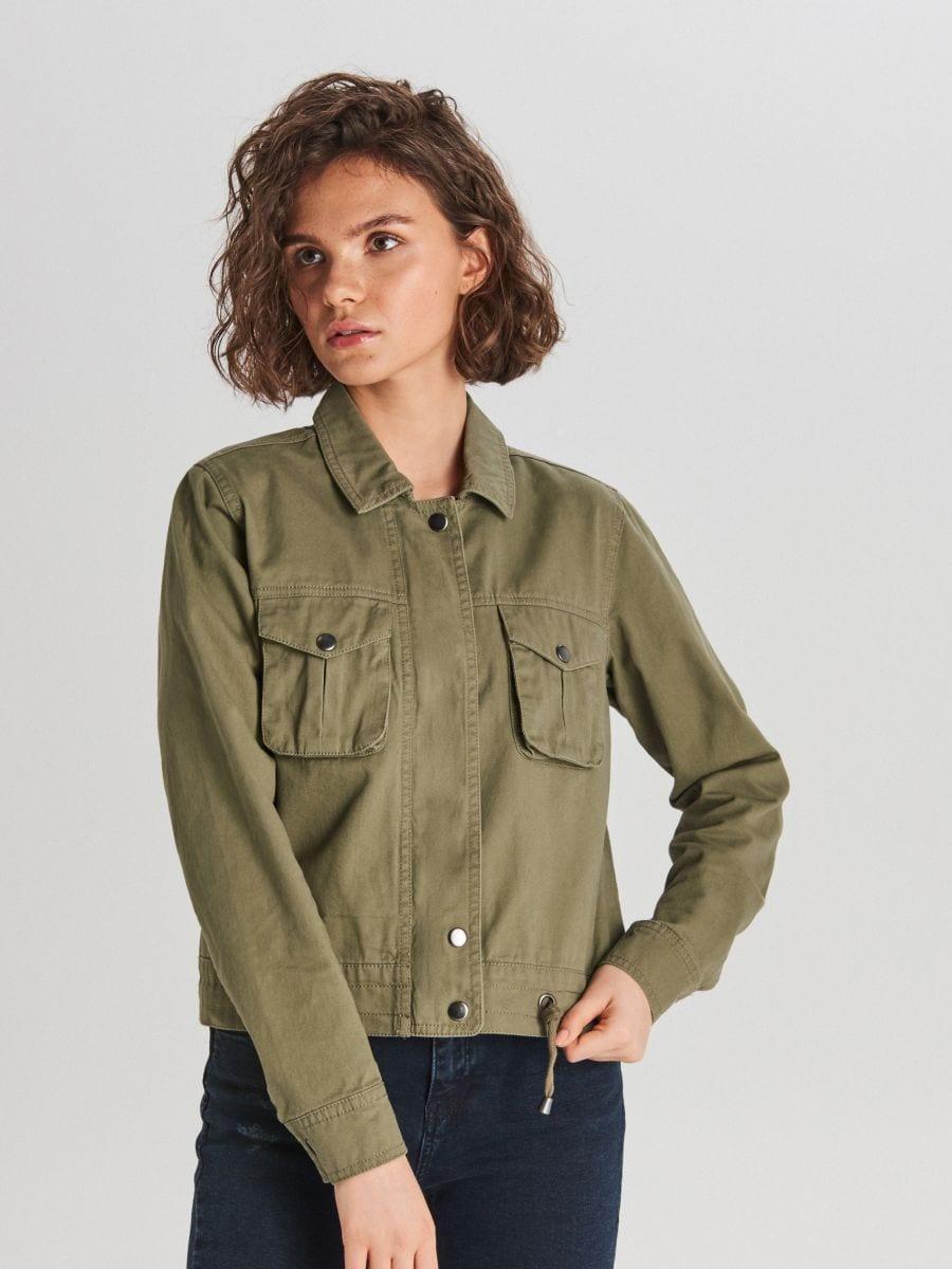 Куртка з накладними кишенями - ХАКІ - WG327-78X - Cropp - 1