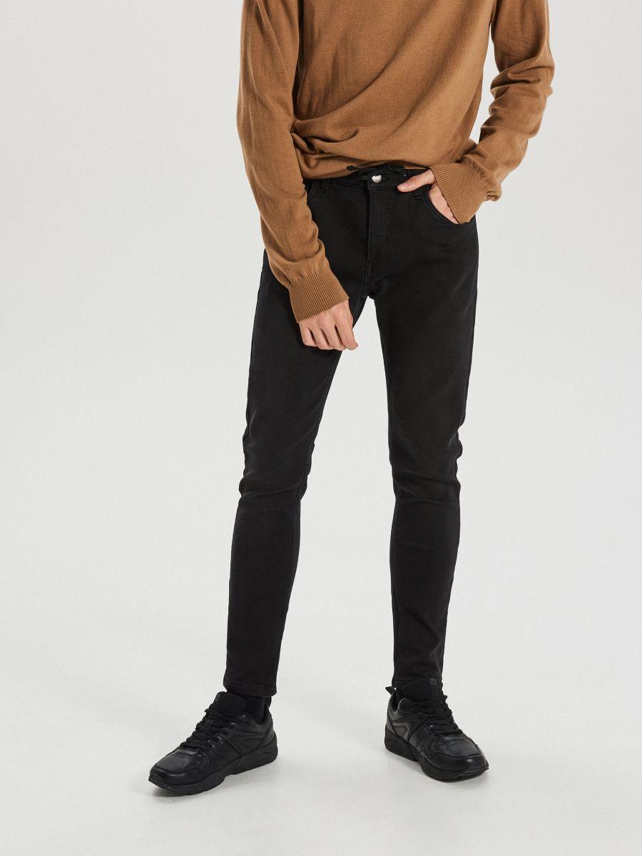 Приталені джинси з еластичним поясом - ЧОРНИЙ - WP398-99J - Cropp - 2