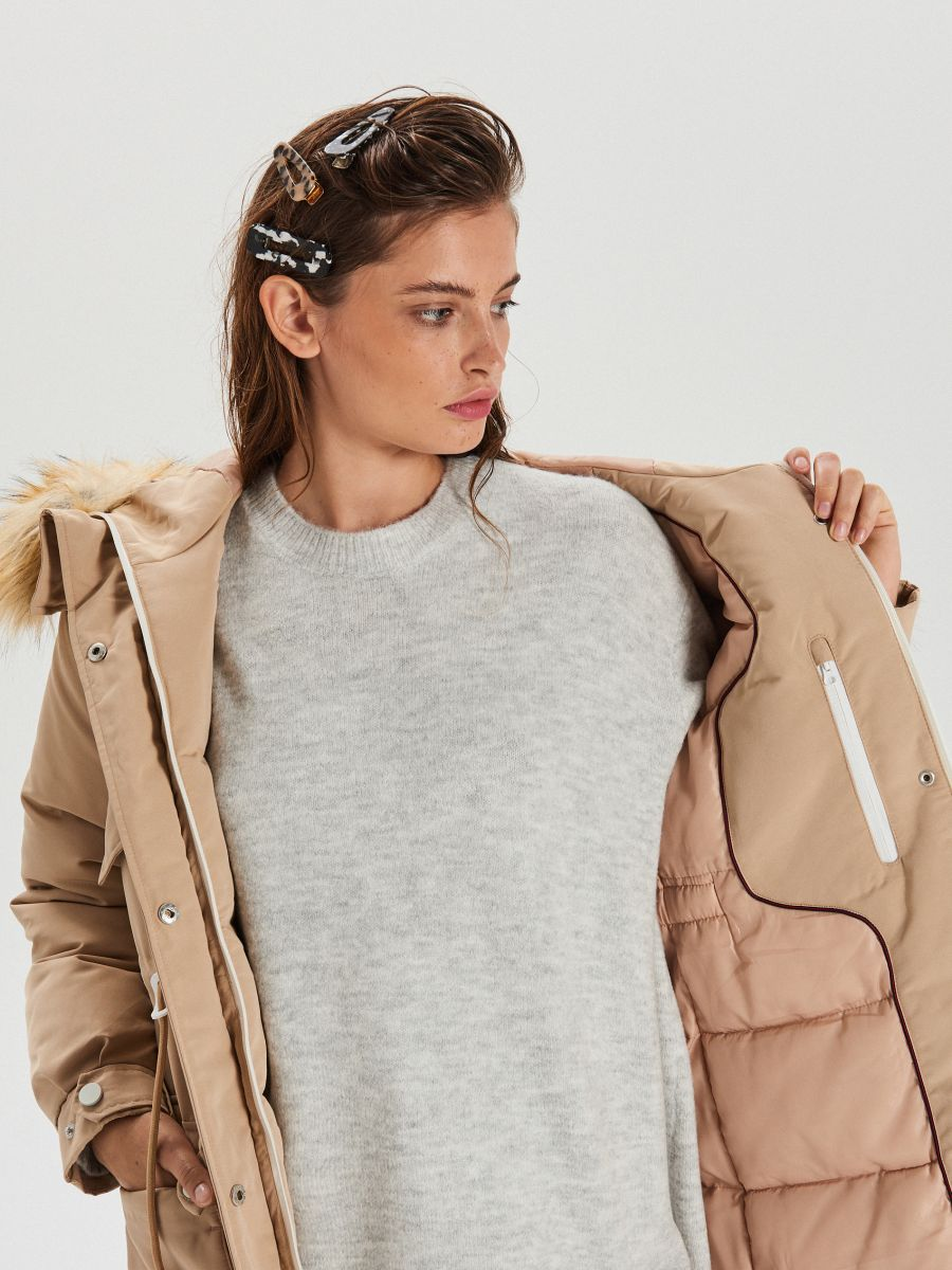 Куртка зі знімним екологічним штучним хутром - БІЖОВИЙ - WS140-08X - Cropp - 4
