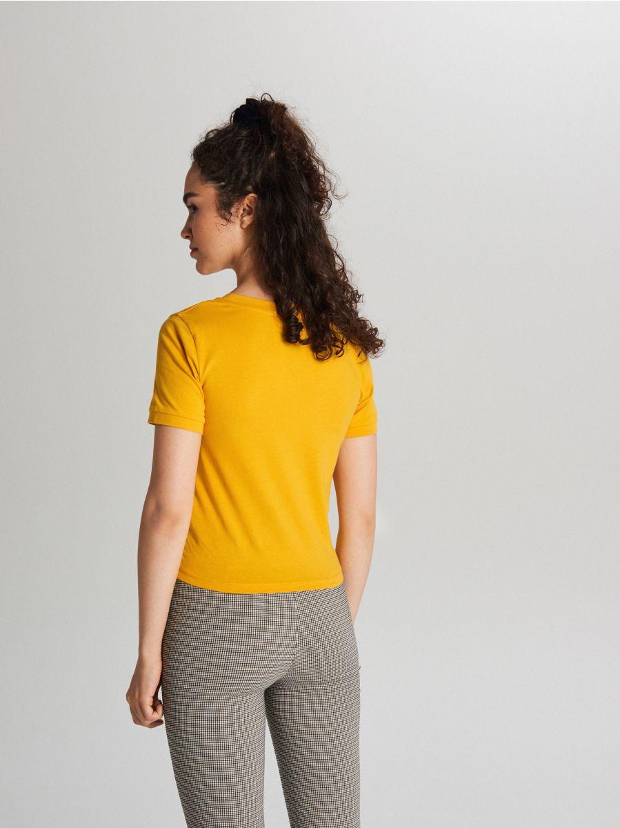 Гладкая рубашка с коротким рукавом - Žltá - XB123-11X - Cropp - 3