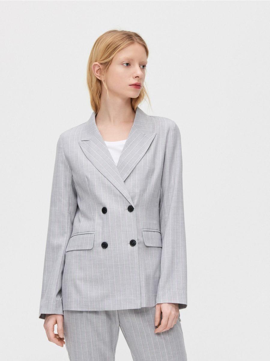 Двубортный пиджак - светло-серый - XL583-09X - Cropp - 2