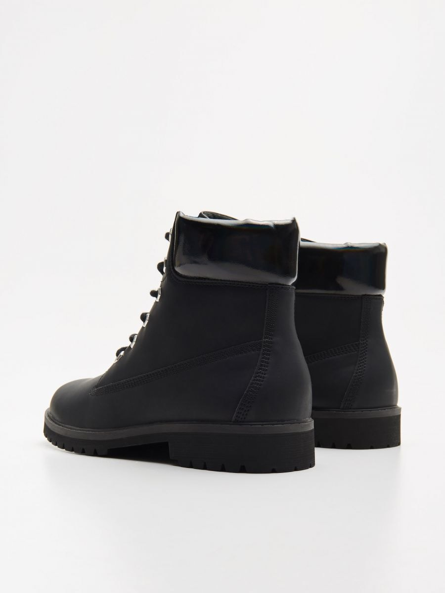Трапперы с шнурками - черный - WE898-99X - Cropp - 4