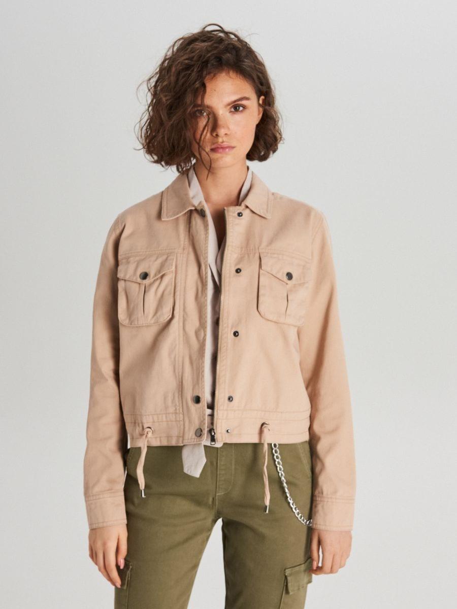 Куртка с карманами - бежевый - WG327-08X - Cropp - 2