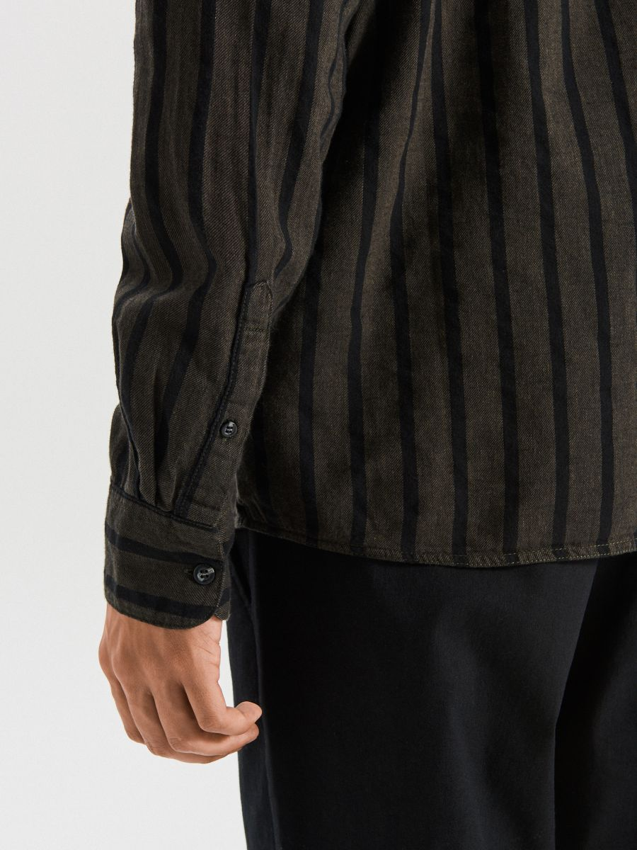 Сорочка в смужку - хаки - WI206-79X - Cropp - 5