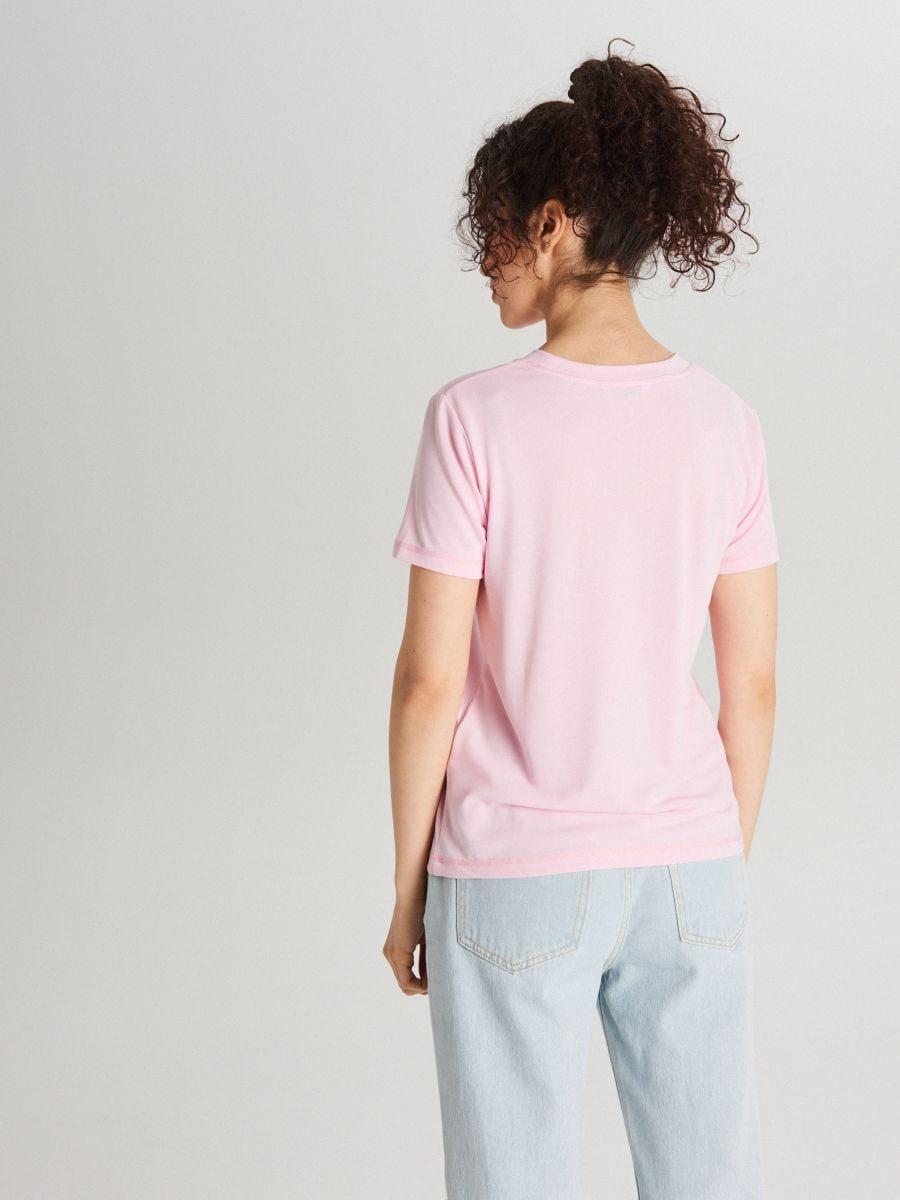 Базовая футболка - розовый - WK752-03X - Cropp - 3