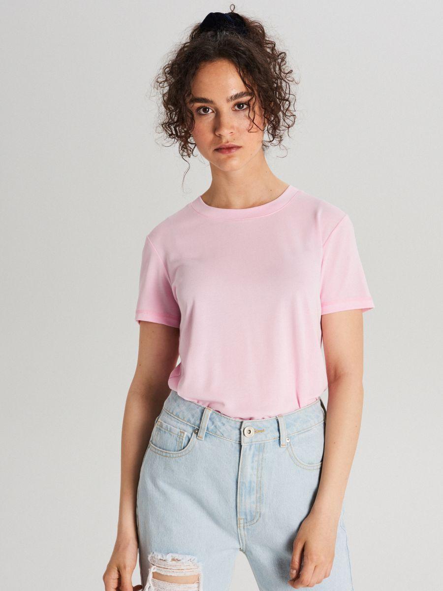 Базовая футболка - розовый - WK752-03X - Cropp - 4