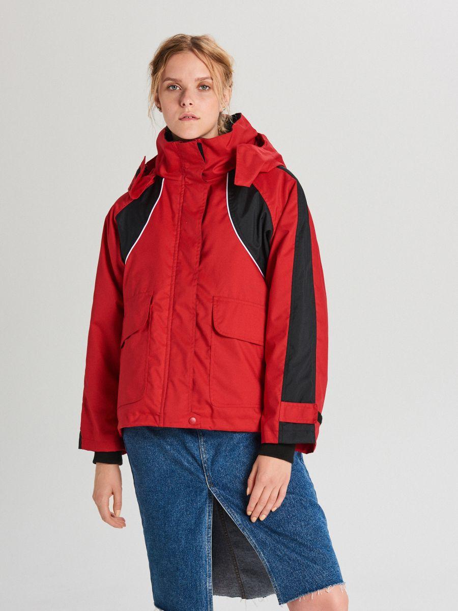 Куртка обширная oversize с капюшоном - CZERWONY - WS144-33X - Cropp - 1