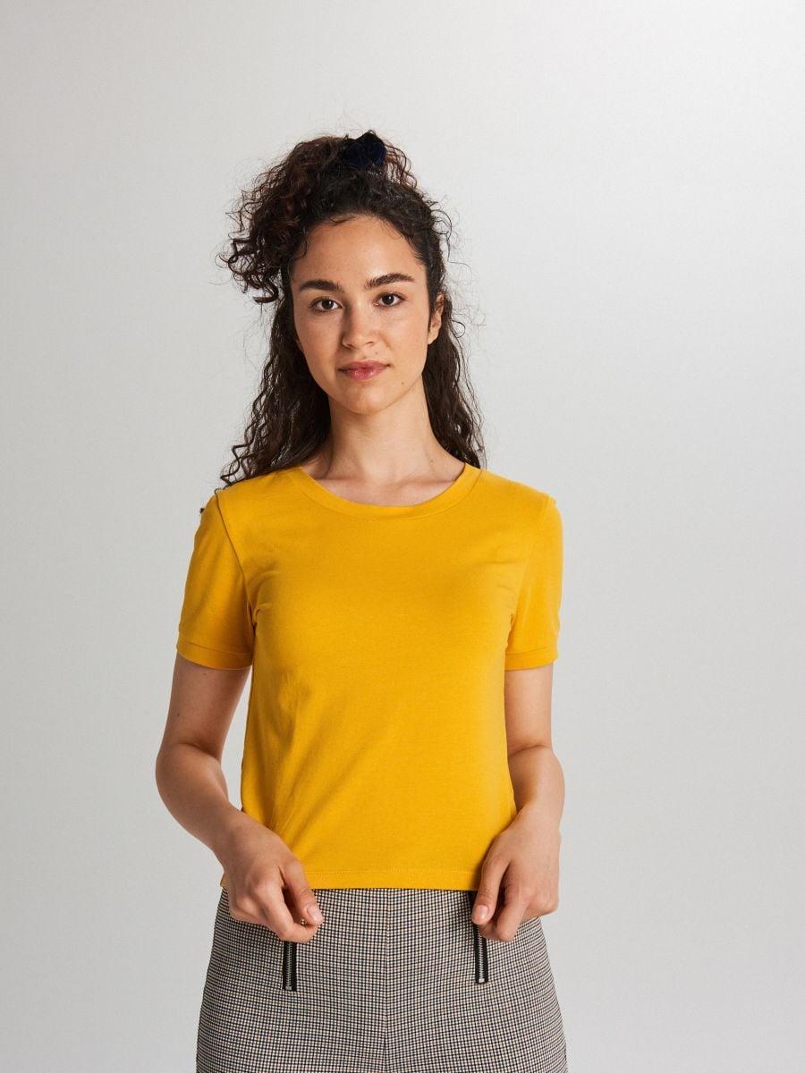 Гладкая рубашка с коротким рукавом - Žltá - XB123-11X - Cropp - 4