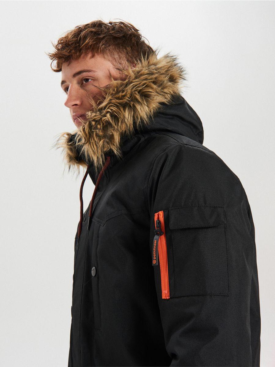 Zimná bunda s kapucňou - Čierna - WA084-99X - Cropp - 8